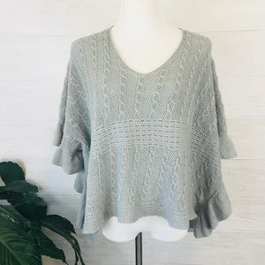 Anthropologie Moth Cable Knit Poncho Sweater M/L